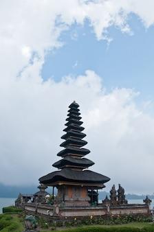 Pura ulun danu beratan famous hindu bali temple with blue sky