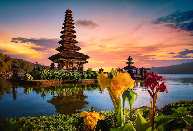 Pura ulun danu bratan, hindu temple on bratan lake landscape at sunrise in bali, indonesia.