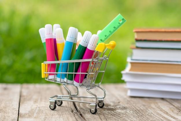 ショッピングカートのマーカーと定規の購入