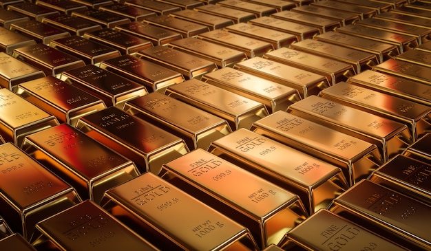 Чистые золотые слитки и концепция валюты финансов на фоне золотых сокровищ с бизнес-инвестициями. 3d-рендеринг.
