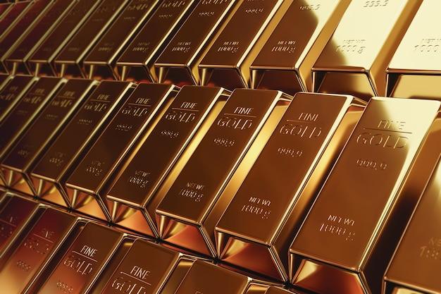 Чистые золотые слитки и концепция валюты финансов на золотом сокровище
