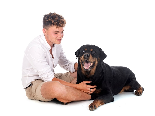 Purebred rottweiler and teen