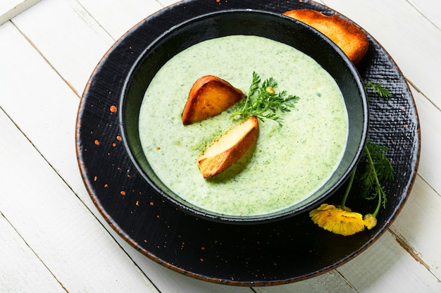 Puree soup, dietary zucchini and herb soup, with toast