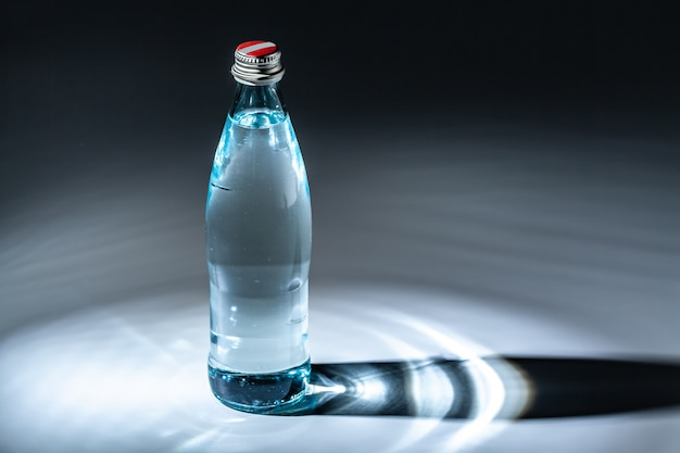 Purified spring mineral water in the bottle