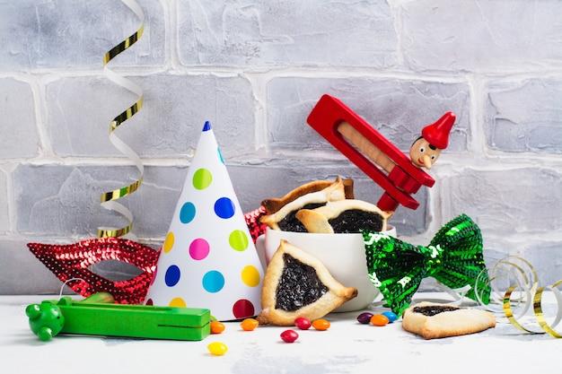 Purim carnival celebration set. jewish carnival holiday purim