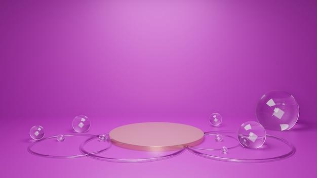 紫の抽象的な最小限のジオメトリの概念。3dレンダリング