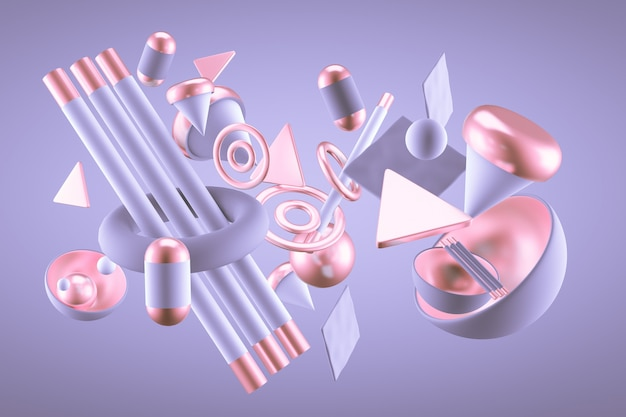 Фиолетовый абстрактный фон минимализм с летающими объектами и фигурами. 3d-рендеринг.