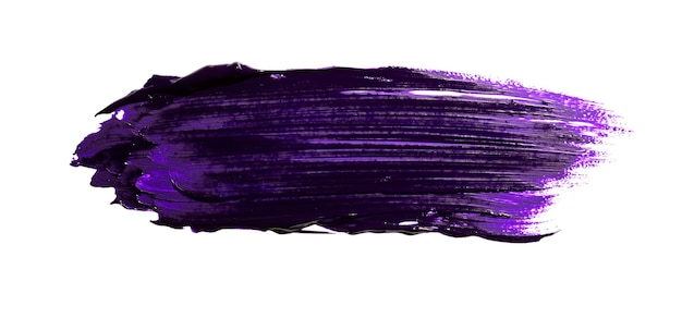 Purple abstract oil paint spot. colorful oil paint brush stroke isolated on white background.