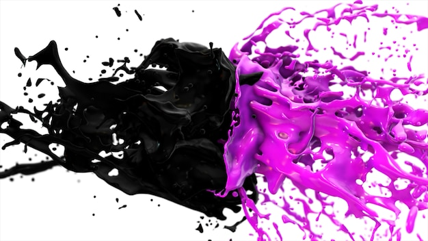 紫と黒の液体が衝突し、孤立した白地の側面にスプラッタフライを落とす