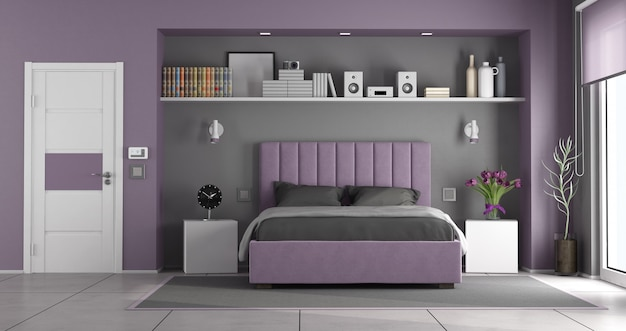 보라색과 회색 마스터 침실