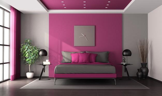 紫と灰色のマスターベッドルーム