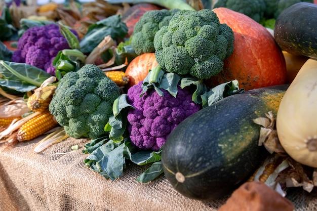 농민 시장에 보라색과 녹색 콜리플라워, 호박 및 기타 야채가 있습니다. 농업, 수확, 추수 감사절의 개념