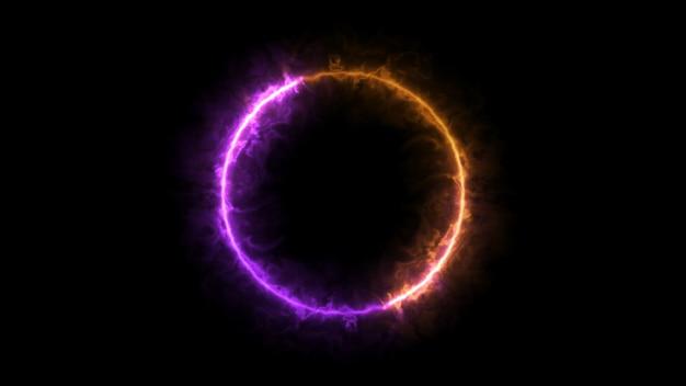 Фиолетовое и оранжевое кольцо огня, частица сферы Premium Фотографии