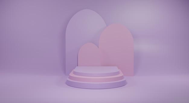 紫色の背景に紫色とピンクの表彰台を3dレンダリング