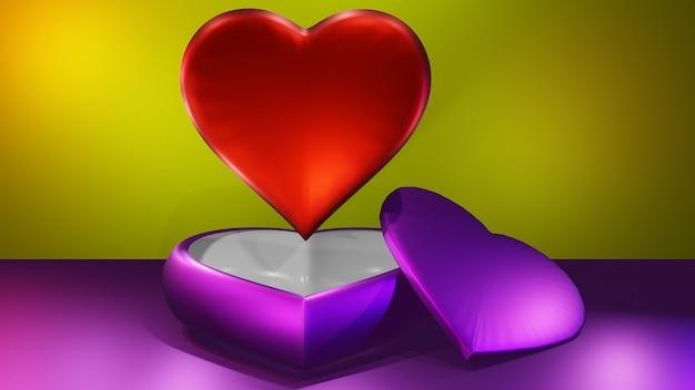 Фиолетовый и красный 3d сердце и любовь фон
