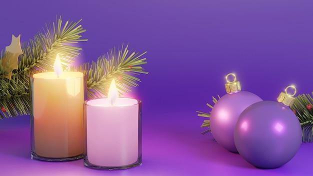 크리스마스 공 및 디자인에 대 한 분기와 보라색 배경 유리 촛불
