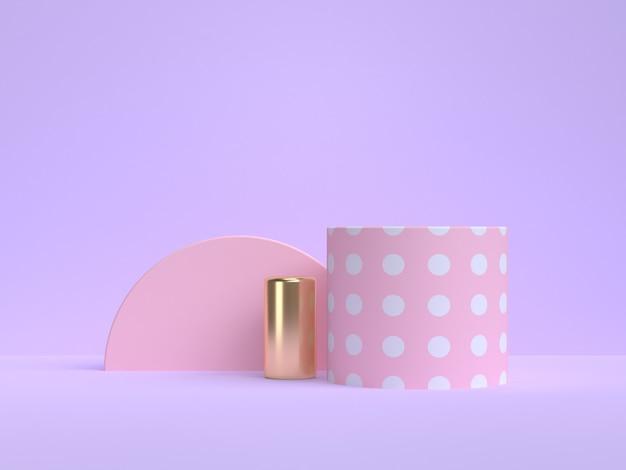 보라색 배경 분홍색 기하학적 모양 3d 렌더링