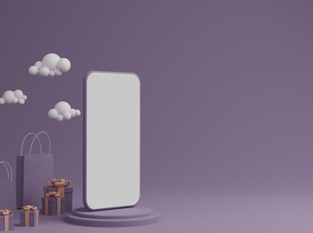 Фиолетовый фон с пустым белым экраном мобильного макета, подарочной коробкой и сумкой для покупок
