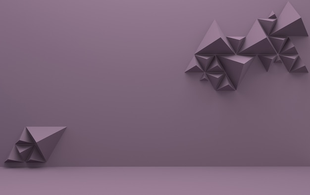 Purple background with triangular pyramids, 3d render