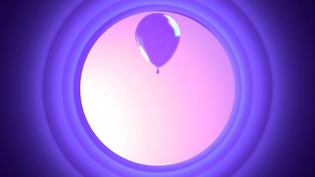 보라색 풍선과 원
