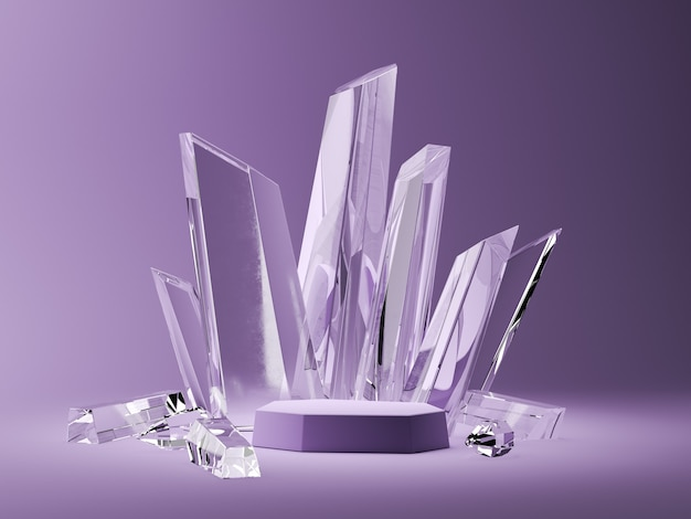 The purple base and crystal sticks in the purple scene. abstract background for accessories or jewelry. 3d rendering