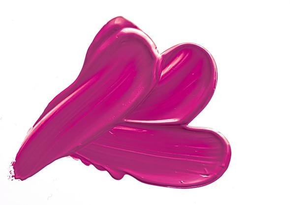 Фиолетовая косметическая текстура, изолированная на белом фоне, размазанная эмульсия для макияжа, мазок крема или тональный крем, косметический продукт и мазки краски
