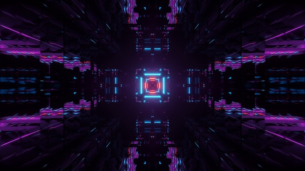 Purple and black futuristic aztec abstract background with squares and neon lights