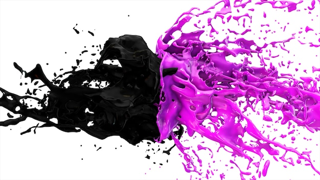 Purple and black liquids collide, drops splatter fly to the sides on a white isolated background