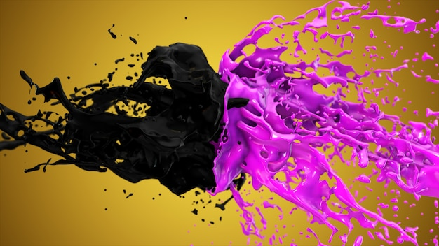Purple and black liquids collide, drops splatter fly to the sides.