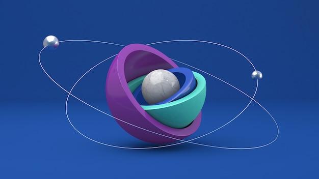 紫、青、ミントの半球。メタリックボール。抽象的なイラスト、3dレンダリング。