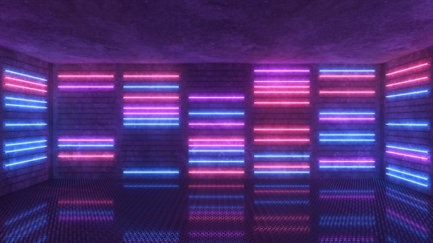 Purple and blue neon background appears and disappears.