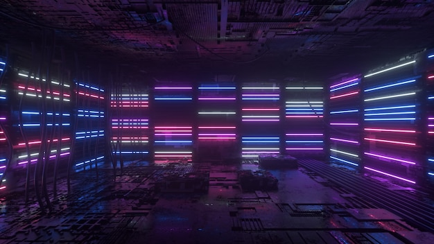 Purple and blue neon background appears and disappears