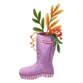 Purple boot autumn illustration with leaves and berries sticking out of it on harvest