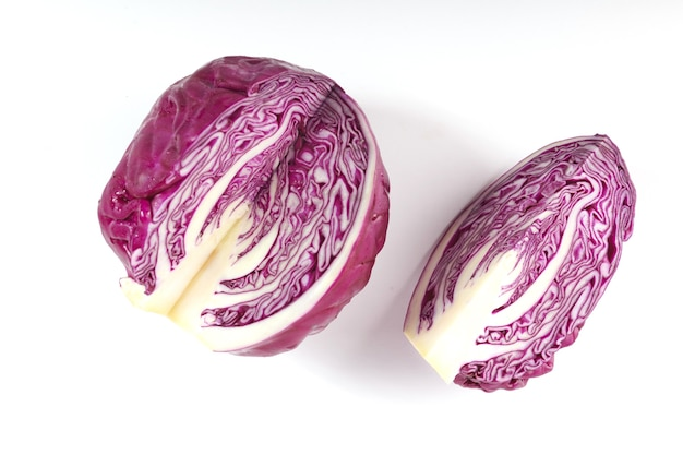 Purple cabbage isolated on white surface. red cabbage slice isolated on white surface.