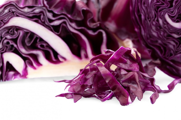 Purple cabbage isolated on white