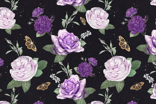 보라색 양배추 장미와 나비 수채화 패턴