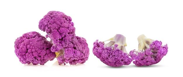 Purple cauliflower on white surface