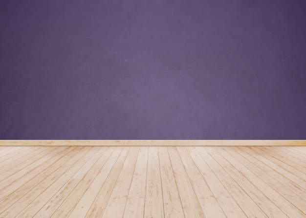 Purple cement wall with wooden floor