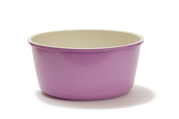 Purple ceramic cooking kitchen pan on white isolated background.