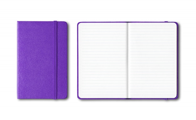 Purple closed and open lined notebooks isolated
