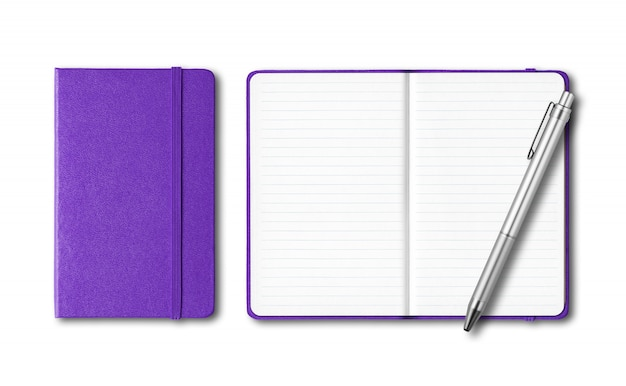 Purple closed and open notebooks with a pen isolated on white