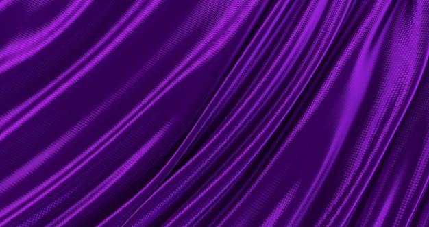 Фиолетовая ткань, роскошный гладкий фон, волна шелкового атласа, 3d визуализация