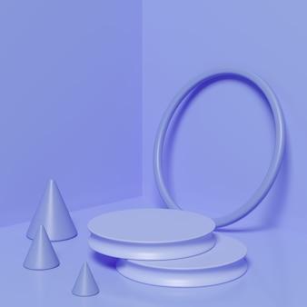 Purple color geometric shape podium for product.