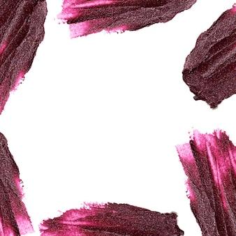 Purple color lipstick stroke around border with empty space
