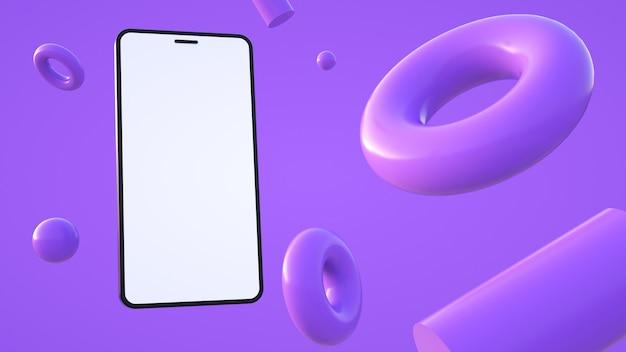 보라색 3d 렌더링에서 전화기와 다른 기하학적 모양이 있는 보라색 구성