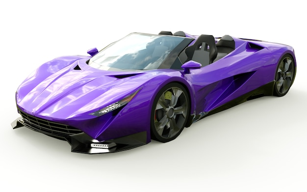 Purple conceptual sports cabriolet for driving around the city and racing track. 3d rendering.