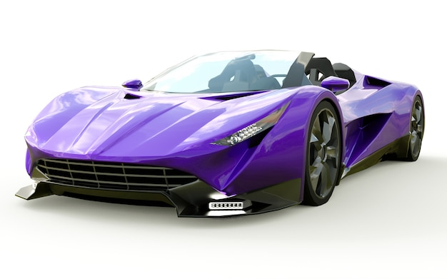 Purple conceptual sports cabriolet for driving around the city and racing track on white