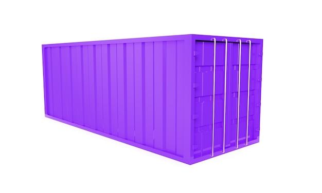 紫色のコンテナ、白いカッティング背景3dレンダリング