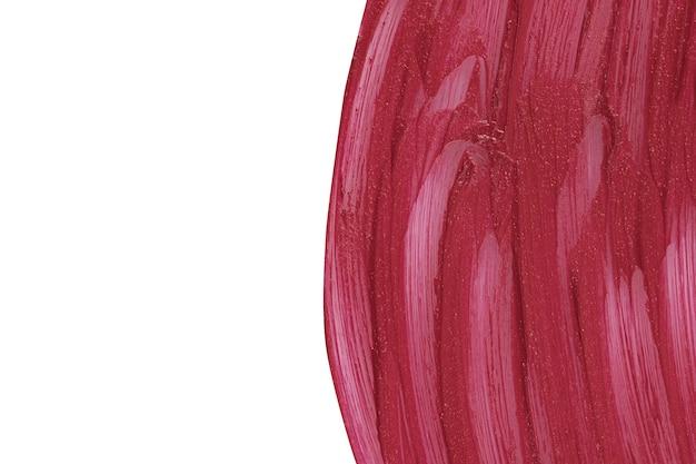 보라색 화장품 얼룩 패턴 흰색 마르살라 미용 제품 샘플 근접 촬영 액체에 고립