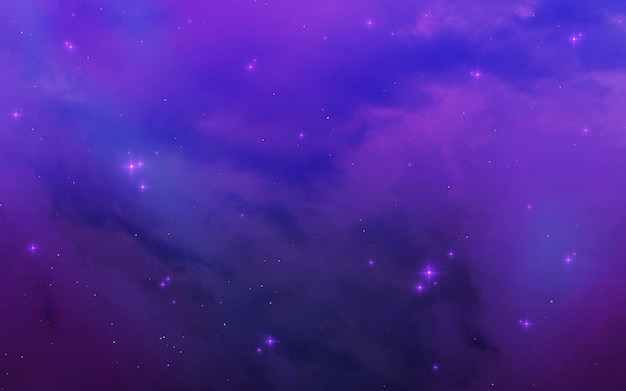 Purple cosmic nebula over constellation.